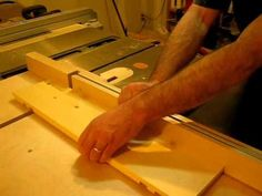 I've added this dado jig attachment to my crosscut sled for cutting dados and rabbets across long boards like bookshelf sides. It can be adjusted for any size dado. Table Saw Sled, Table Saw Jigs, Woodworking Jigsaw, Woodworking Tools, Wood Working, Arm, Dreams, Tips, Projects