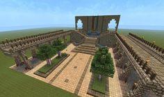 Tutorial: Grand entryway, by sarlac Minecraft Temple, Minecraft Garden, Minecraft Castle, Minecraft Medieval, Cool Minecraft, Minecraft Crafts, Minecraft Building Guide, Minecraft Blueprints, Minecraft Designs