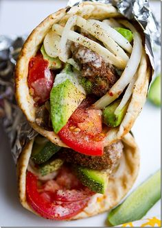 Vegetarian gyros made with falafels, avocado, secret sauce and lots of yummy veggies