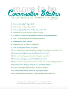 Conversation Starters -- FREE DOWNLOAD -- great for using with tweens and teens and twenty-somethings.
