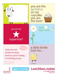 Lots of lunch box notes printables. I really like these now if I can find one for my husband.