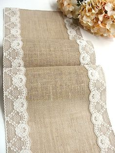 Burlap and lace table runner rustic wedding by HotCocoaDesign
