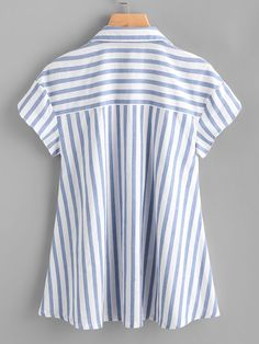 SheIn offers Contrast Striped Petal Sleeve Dip Hem Shirt & more to fit your fashionable needs. Look Office, Petal Sleeve, Make Your Own Clothes, Sleeveless Jacket, Shirt Refashion, Sequin Tank Tops, Blue Fashion, Hoodie Jacket, Casual Tops
