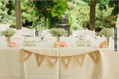 sweetheart table burlap flag banner decor | CHECK OUT MORE IDEAS AT WEDDINGPINS.NET | #wedding