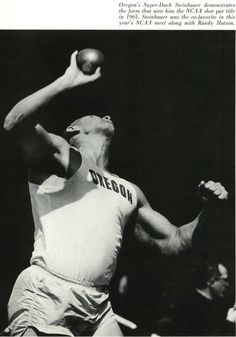 Oregon track athlete Neal Steinhauer champion shot-putter 1966. From the 1966 Oregana (University of Oregon yearbook). www.CampusAttic.com