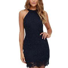 2017 Spring Summer Women Elegant Wedding Party Sexy Night Club Halter Neck Sleeveless Sheath Bodycon Lace Dress Short