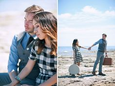 Travel themed Cave Point engagement with vintage suitcases - Ping Photography