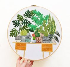 12 inch Hand Stitched Potted Garden Modern by SarahKBenning