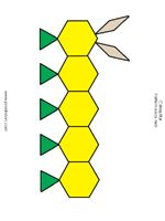 Printable pattern block mats in blackline and color. Look for the butterfly, dragonfly, caterpillar, and bee mats to use with a bug theme.