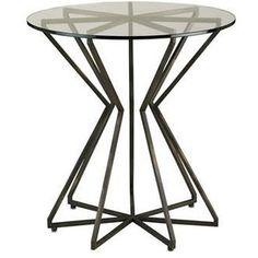 Charbonneau Modern Circular Bronze Glass Side Table