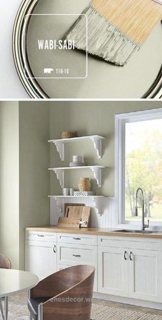 This kitchen is filled with natural light thanks to a fresh coat of BEHR Paint in Wabi-Sabi. When paired with light wood and bright white accents, this soft green hue helps to create a calming, natural color palette. Wabi-Sabi is part of the BEHR 2018 Col Green Paint Colors, Interior Paint Colors, Paint Colors For Home, House Colors, Interior Design, Behr Paint Colors, Green Wall Color, Behr Exterior Paint Colors, Interior Ideas