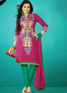 Glorious Magenta Cotton Churidar Suit