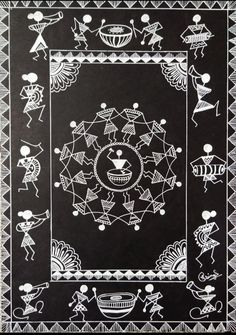 Worli Painting, Kerala Mural Painting, Indian Art Paintings, Doodle Art Drawing, Dark Art Drawings, Art Drawings For Kids, Tribal Pattern Art, Tribal Art, Madhubani Art