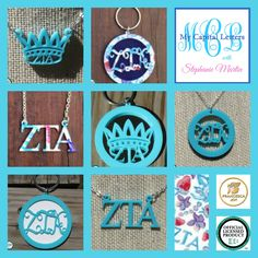 ZETA TAU ALPHA acrylic jewelry, keychains, and more, including a new Francesca Joy ZTA pattern at My Capital Letters with Stephanie Martin - stephaniemartin.mycapitalletters.com