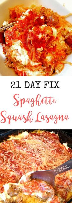 21 Day Fix Spaghetti Squash Lasagna - Confessions of a Fit Foodie - Low Carb Deliciousness! 21 Day Fix Spaghetti Squash Lasagna - 21 Day Fix Extreme, Healthy Drinks, Healthy Eating, Healthy Recipes, Fixate Recipes, Atkins Recipes, Lunch Recipes, Keto Recipes, Dinner Recipes
