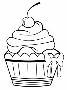 Cupcake Outline Clip Art | You are here: Home / Graphics / Food ...