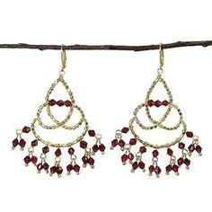 Maharaja Chandelier Earrings in Burgundy - WorldFinds