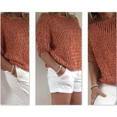White Shorts, Knitwear, Knit Crochet, Pullover, Knitting, Crocheting, Clothes, Dresses, Summer