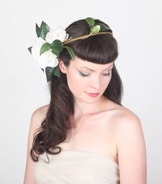 Dramatic Wedding Flower Crown - Bold, Statement Head Piece - Large Ivory Flowers & Leaves on Twining Branches by Sweet Little Sparrow