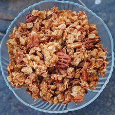 """This crunchy pecan granola is the recipe my family makes at the cabin every year. So crunchy, sweet, and delicious with lots of clusters!"""