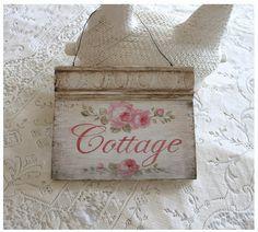 Cottage Roses Sign - Debi Coules Romantic Art