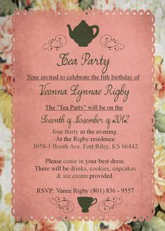Pink Tea Party Birthday Invite (fifth is spelled wrong! Ouch!)