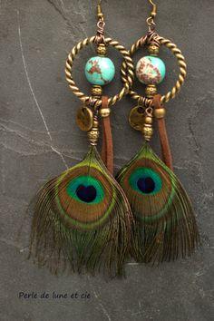 Boucles d'oreille plume Indali  Perles et par Perledeluneetcie, €21.00
