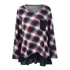 $14.73 Plus Size Flounced Plaid T-Shirt