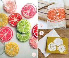 linocut+tea+towels | ... Coasters by Purl Bee | 2. Orange Tea Towel , $12 | 3. Lemon Cards , $6