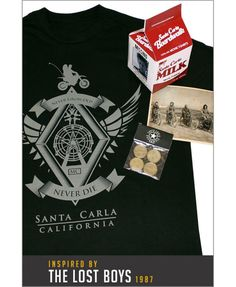 Gift set includes: Santa Carla Never Grow Old Motorcycle Club T-shirt. Black premium cotton shirt with hand screen printed design. 4 Santa Carla Boardwalk ride tokens in plastic sleeve Exclusive 1921 Santa Carla beach photo Replica Santa Carla milk carton with Marko missing photo T-shirt: Mens Ring Spun, Premium T-Shirt, 100% Jersey Cotton Girl model is wearing a mens size SMALL / Guy model is wearing a size MEDIUM