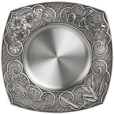 Plate, Four Gentlemen - Plum blossom, orchid, bamboo and chrysanthemum motifs adorn each corner of the plate. #pewter #RoyalSelangor