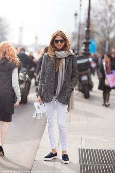 Grey tweed coat, white pants and blue slip-on loafers - Outfit ideas and style inspiration