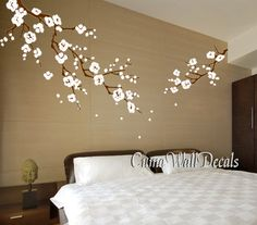 Cherry blossom wall decals white flower vinyl mural nature wall sticker children decals nursery wall mural- white cherry blossom Z163 cuma USD79