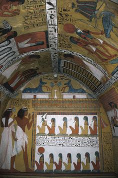 Mural Paintings in the Tomb of Sennedjem, @ Deir el-Medina, with Scenes of the Afterlife. Sennedjem lived during Dyn.19, under the reign of Sety I & the 1st years of Ramesses II. His name means 'servant in the place of truth'
