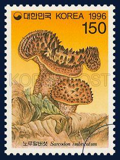 MUSHROOM SERIES(4th), Roe deer fur and mushrooms, Mushroom, red brown, Brown, Orange, 1996 08 19, 버섯시리즈(네번째묶음), 1996년 8월 19일, 1873, 노루털버섯, Postage 우표
