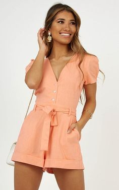 Stand out from the crowd in the Sundaze Playsuit ! This is the playsuit that you need in your life! Sitting at a mini length and featuring tie knotdetail back and centre front buttons , you'll never want to take this stunning piece off! Cute Summer Outfits, Spring Outfits, Vestidos Chiffon, Peach Clothes, Chic Outfits, Fashion Outfits, Romper With Skirt, Clothing Sites, Rompers Women