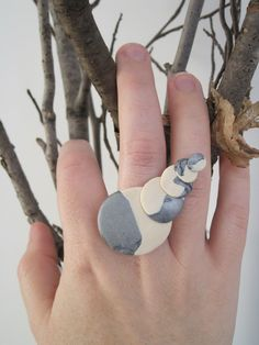 Silver and White 5Pebble sculpted clay ring on by sweetstellas, $25.00