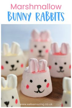 How to Make Marshmallow Bunnies - Fun Easter Treat How to make cute bunny marshmallows - fun and easy Easter treat for kids with step by step photo tutorial Cute Marshmallows, How To Make Marshmallows, Recipes With Marshmallows, Easter Snacks, Easter Treats, Easter Recipes, Easter Food, Easter Cake Toppers, Chicken Cupcakes