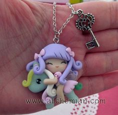 1 cute winged  fairy ooak necklace made in italy. €35,00, via Etsy.