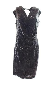 Lauren Ralph Lauren NEW Black Shimmer Sequined Women's Size 14 Sheath Dress $229