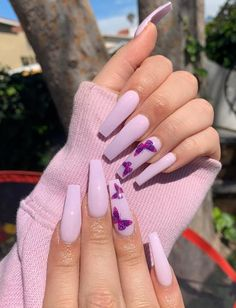 Image discovered by Tammy Hartil. Find images and videos about nails.nailart on We Heart It - the app to get lost in what you love. French Tip Acrylic Nails, Purple Acrylic Nails, Best Acrylic Nails, Tumblr Acrylic Nails, Long French Nails, Light Purple Nails, Light Nails, Cute Acrylic Nail Designs, Butterfly Nail Designs
