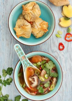 This delicious soup uses mushroom stems and tantalising Thai flavours to create a wonderful base. Serve with these our easy-to-make crispy wontons. Vegetarian Soup, Vegetarian Recipes, Cooking Recipes, Healthy Recipes, Vegan Soups, Fun Recipes, Recipe Ideas, Veggie Recipes, Asian Recipes