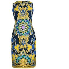 Versace Collection Baroque Print Dress (1,145 SAR) ❤ liked on Polyvore featuring dresses, blue, cotton dresses, reversible dress, white zipper dress, zip dress and blue sleeveless dress