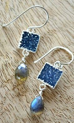 Denim-blue druzy and labradorite earrings. By Kahili Creations of Hawaii...
