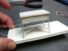 Dollhouse Miniature Furniture - Tutorials | 1 inch minis - Wicker desk/table