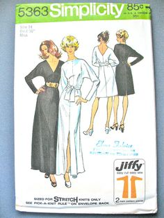 Uncut Vintage Simplicity 5363 Simplicity Pattern Vintage Sewing Pattern    Simple-To-Sew Misses Jiffy Dress in Two Lengths and Sash - (Sized for