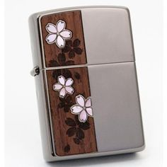 Zippo Lighter WOOD & SHELL CHERRY BLOSSOMS Black Nickel 2CSW-BN Japan Model