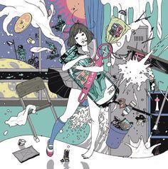 by Yusuke Nakamura Manga Illustration, Illustrations, Character Illustration, Graphic Illustration, Comic Kunst, Comic Art, The Tatami Galaxy, Genesis Evangelion, Girls Anime