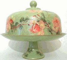 Sage with Rose Domed Pedestal Cake Plate – Roses And Teacups