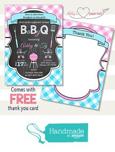 26 best baby shower gender reveal invitations images on pinterest babyq bbq cookout baby shower or gender reveal invitation digital file or prints from filmwisefo